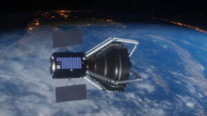 Clearspace 1 satellite 3d model in space