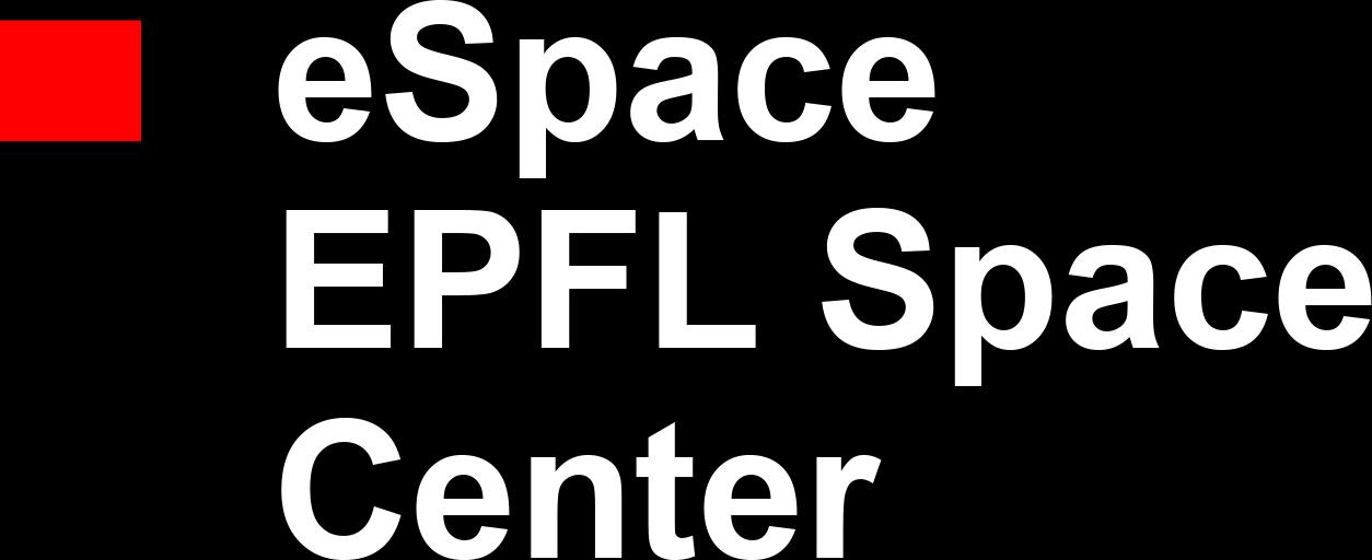 espace epfl space center logo white text arial