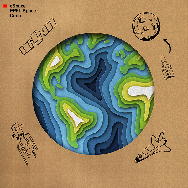 earth on cardboard surounded by space items