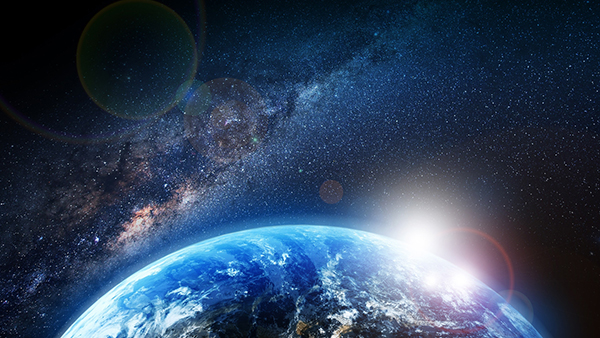 rising earth in space