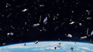 image of space debris above earth